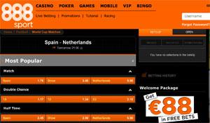 Quotes voor Spanje - Nederland bij bookmaker 888
