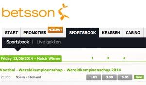 Betsson Quotering Spanje - Nederland