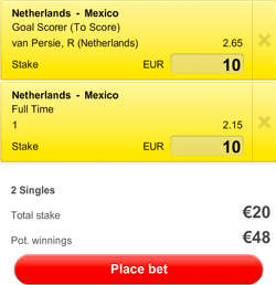 Nederland is de favoriet om te winnen van Mexico.