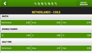 Nederland is de favoriet voor de wedstrijd tegen Chili.