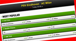 PSV - AC Milan Betslip