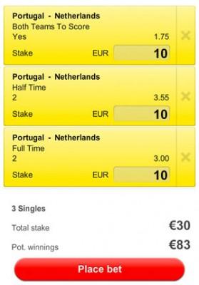 Betslip Portugal - Nederland