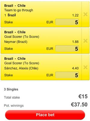 Brazilië is de grote favoriet in de wedstrijd tegen Chili.