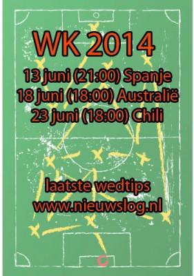 WK 2014: Speelschema Oranje