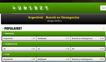 Quotes Argentinië - Bosnië-Herzegovina