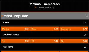 Quoteringen Mexico - Kameroen
