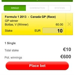 Betslip Formule 1 Canada: 10 euro op Bottas
