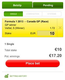 Betslip Formule 1 Canada